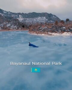 Figure Skater Glides Across Kazakh Lake In Stunning Outfit With Flowing Train