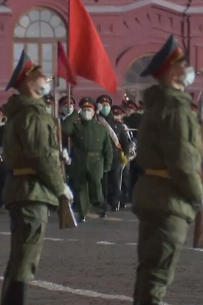 Russian Soldiers Rehearse At Night Ahead Of Red Square Parade To Mark Soviet Victory Over Hitler
