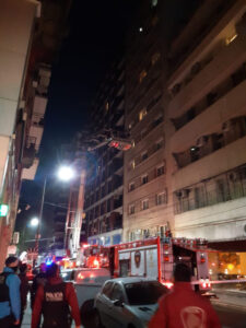 Moment Uruguay Midfielder Is Rescued As He Dangles From 11th Floor Of Burning Hotel