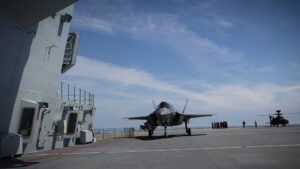 Moment F35 Jet Lands On Royal Navys New Aircraft Carrier For First Time