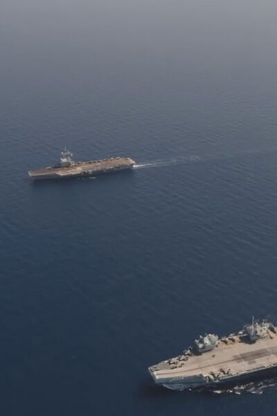 British Flag Ship Aircraft Carrier The HMS Queen Elizabeth Teams Up With French Counterpart For Anglo French War Games
