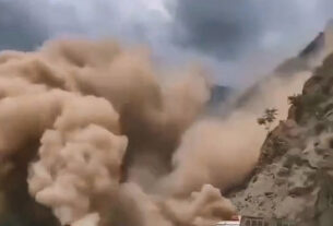 Motorists Run In Fear As Boulders Sent Crashing Onto Mountain Road During Landslide